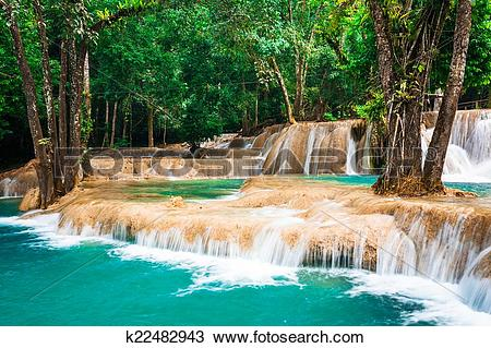 Stock Photo of Jangle landscape with turquoise water of Kuang Si.