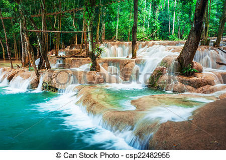 Stock Images of Jangle landscape with turquoise water of Kuang Si.