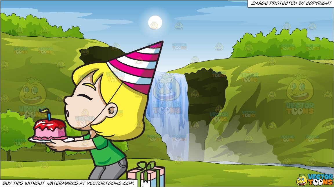 A Happy Birthday Girl Making A Wish and Peaceful Waterfall Background.