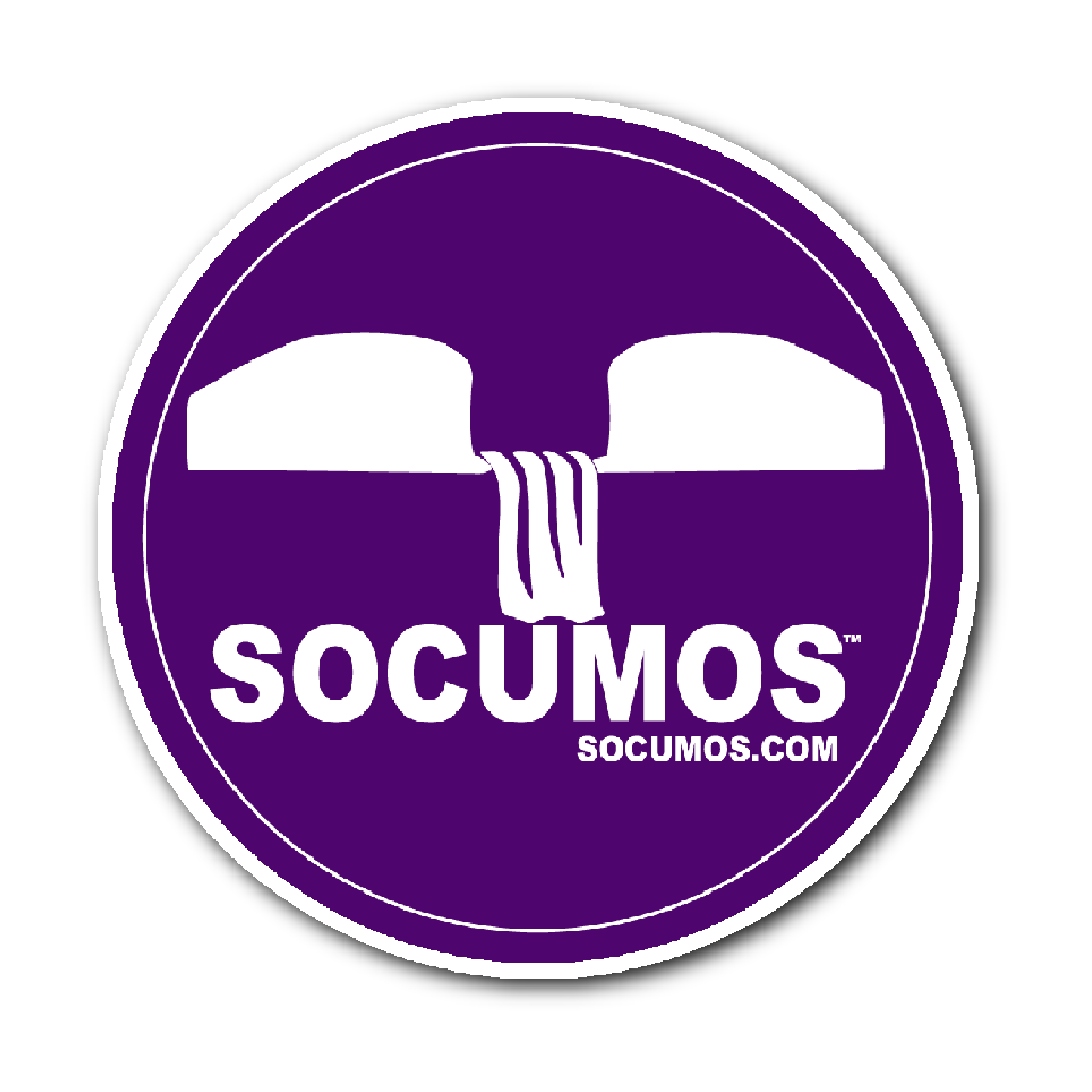 SOCUMOS Waterfall Logo Sticker/Purple and White.