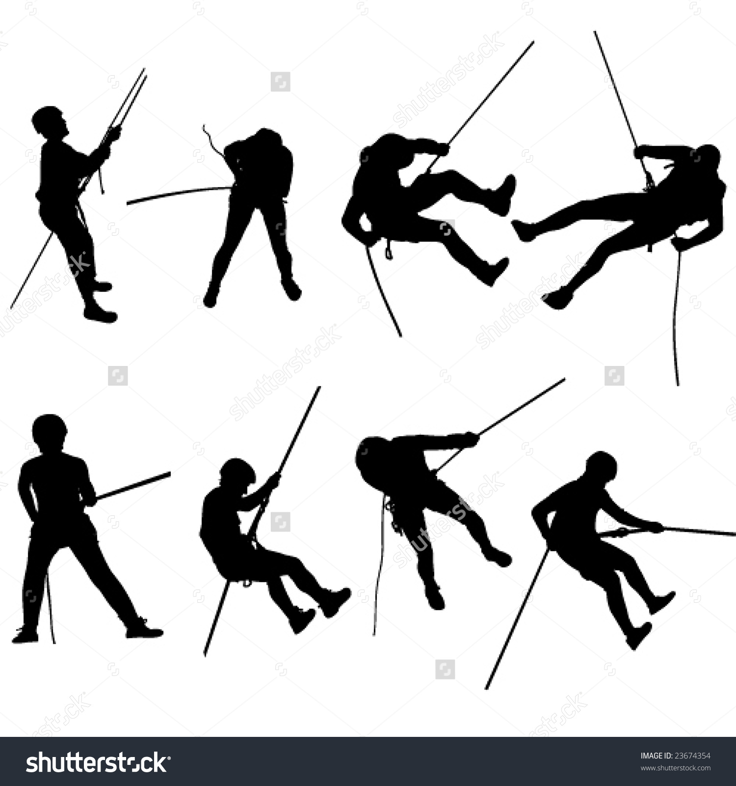 Rappelling Silhouettes Stock Vector 23674354.