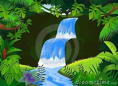 Jungle waterfall clipart.