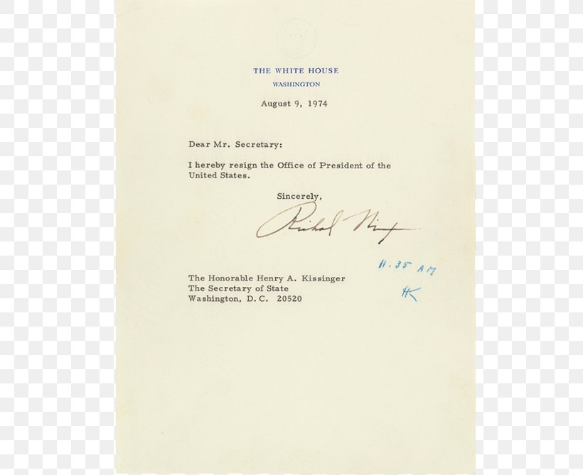 President Of The United States Watergate Scandal Letter Of.