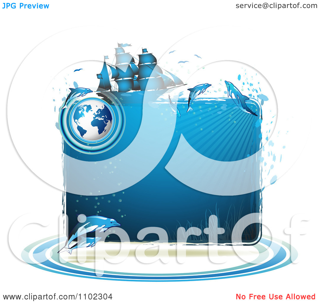 Clipart Blue Water Globe Ship And Dolphins Frame.