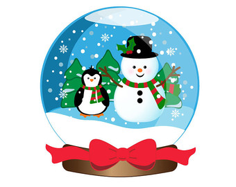 Christmas snowglobe clipart.