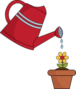 clip art illustration of a red watering can watering a.