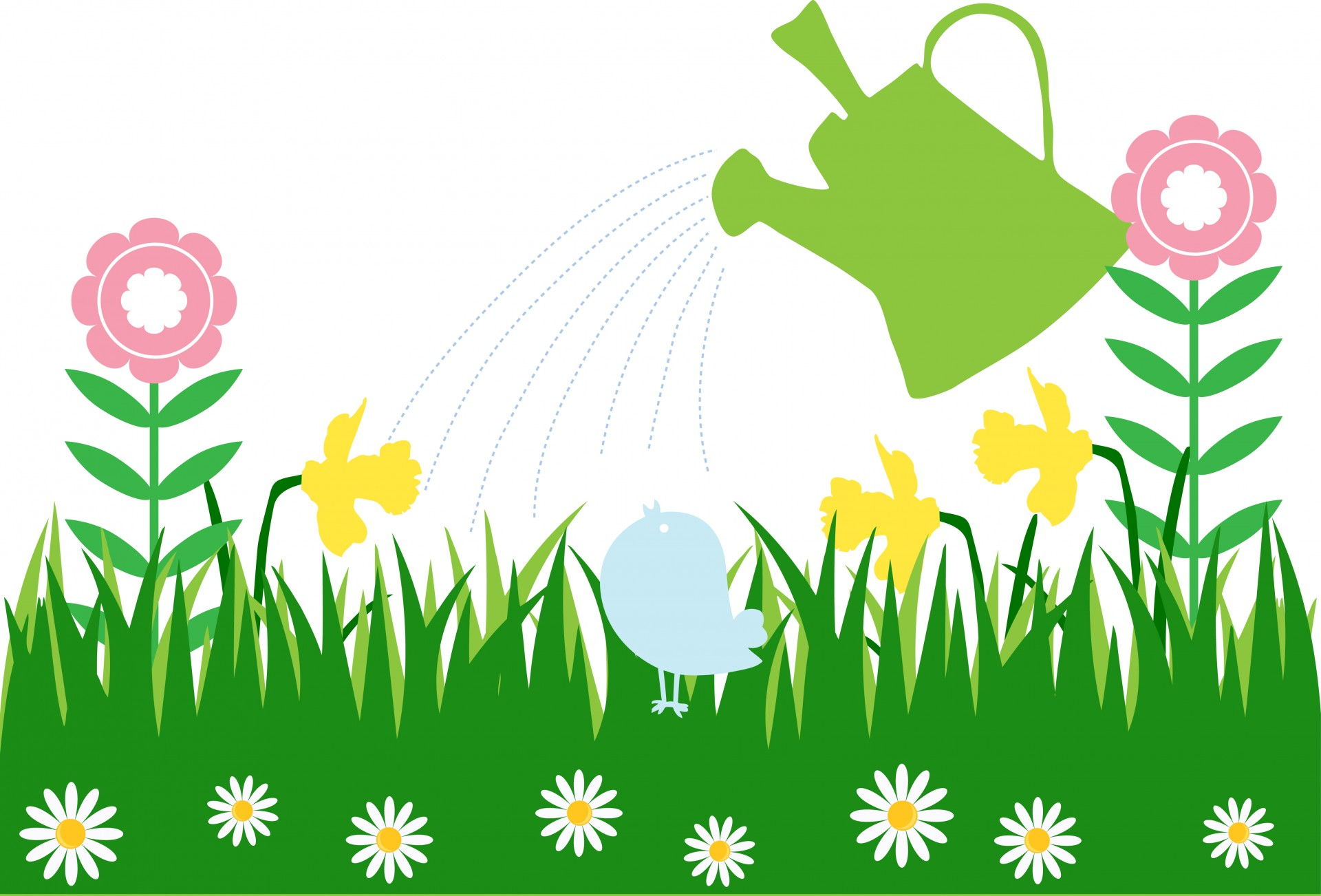 Watering can flowers clip art.