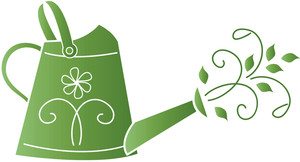 Watering Can With Flowers Clipart Silhouette.
