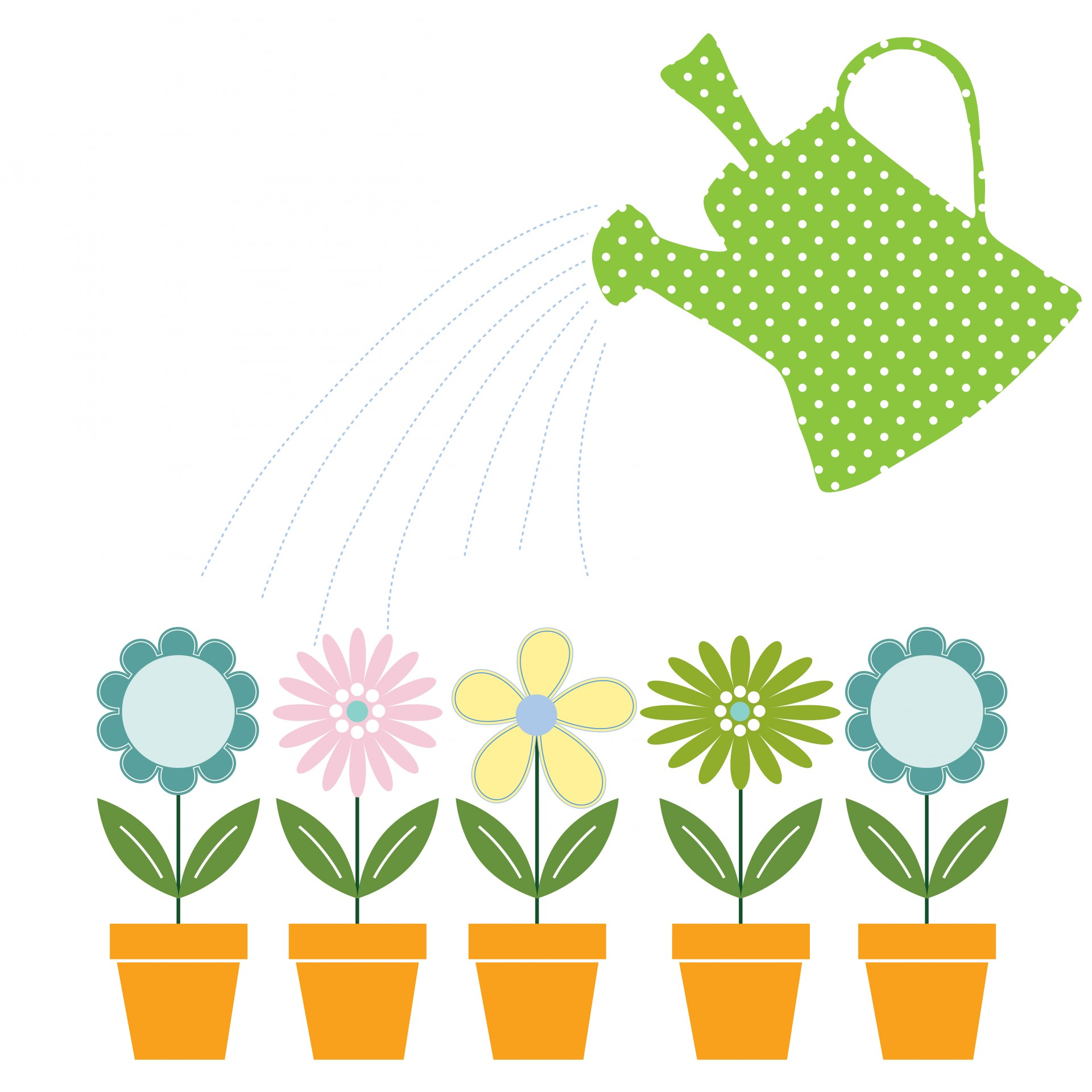 Flower & Watering Can Clipart Free Stock Photo.