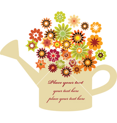 Flowers in watering can vector.
