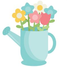 Watering Can With Flowers Clipart.