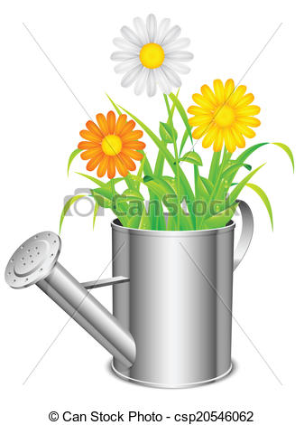 Clip Art Vector of Watering can and flowers..