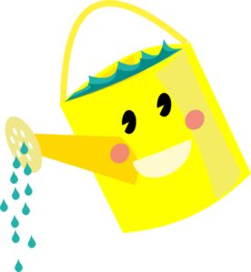Smiling Watering Can clip art.