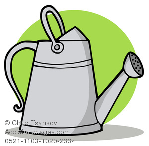 Clipart Image of A Tall Metal Watering Can.