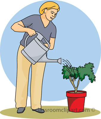 Watering Plants Clipart.