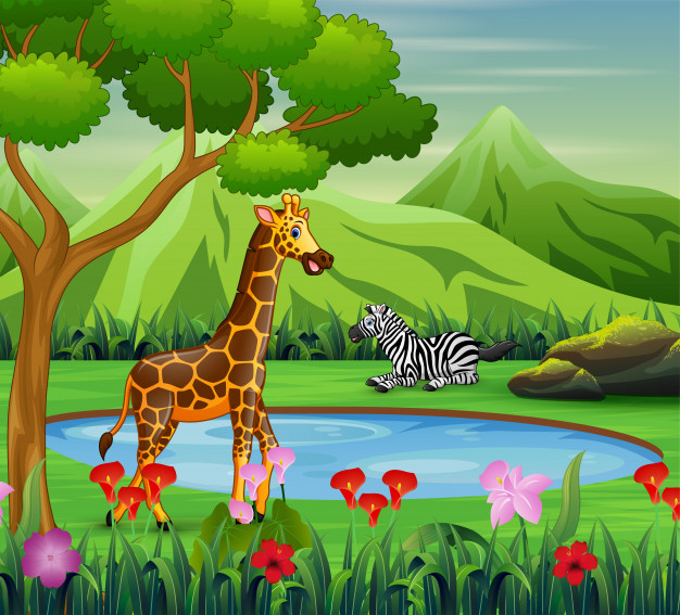 Cartoon zebra and giraffe living near watering hole Vector.
