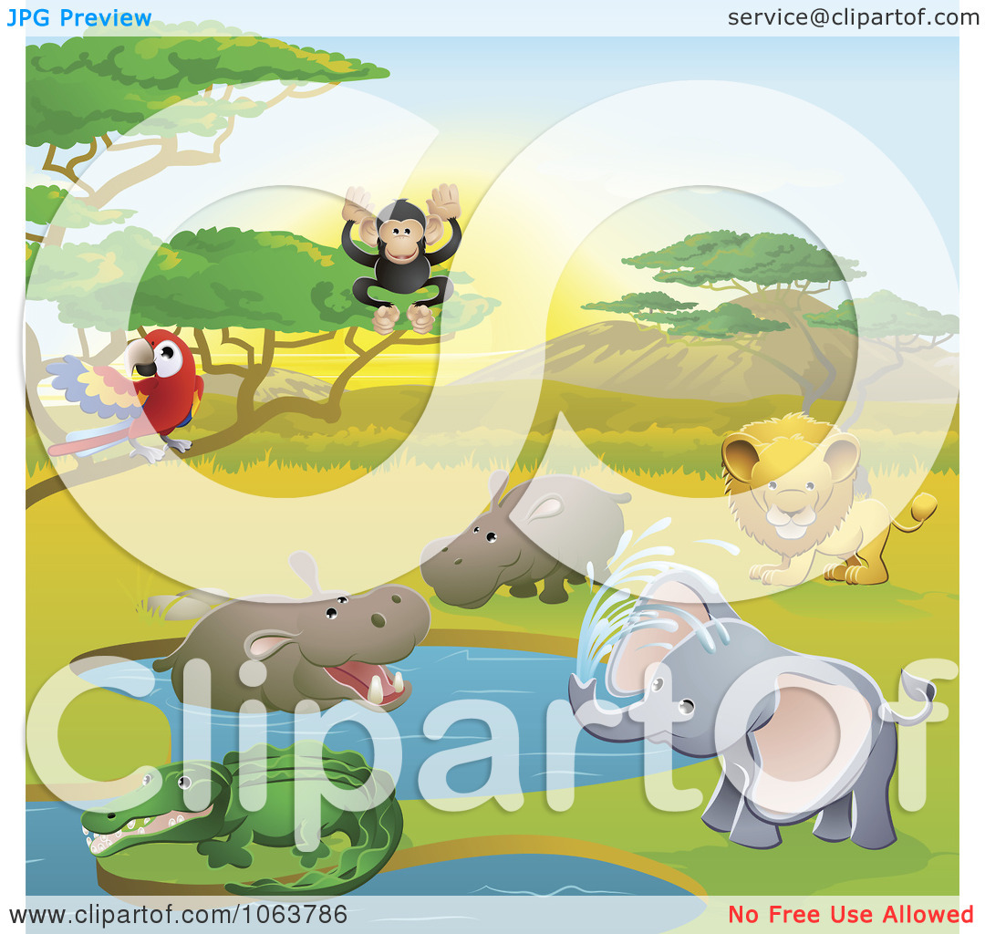 Clipart Safari Animals In A Watering Hole.