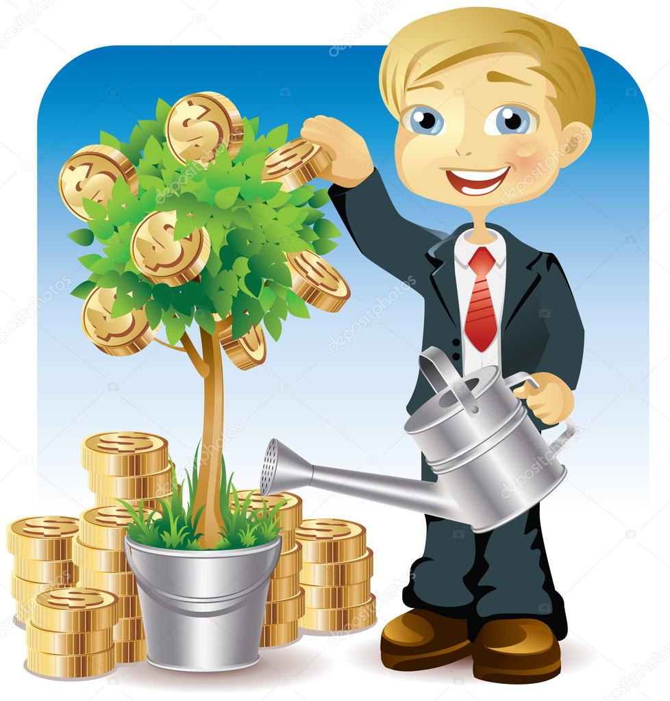 Businessman watering a money tree — Stock Vector © AnnaDrozd #3187032.