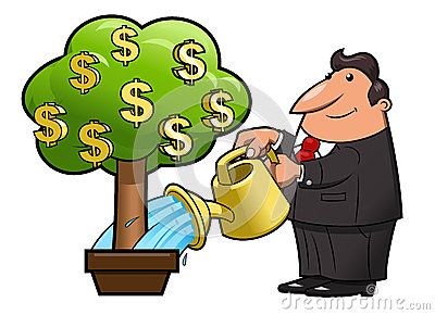 Businessman Watering A Money Tree Stock Vector.