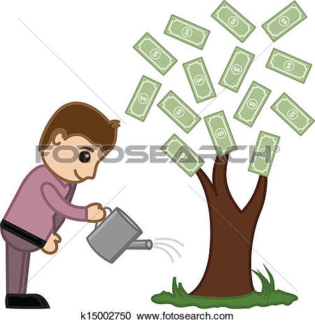 Clip Art of Businessman watering a money tree k14452097.
