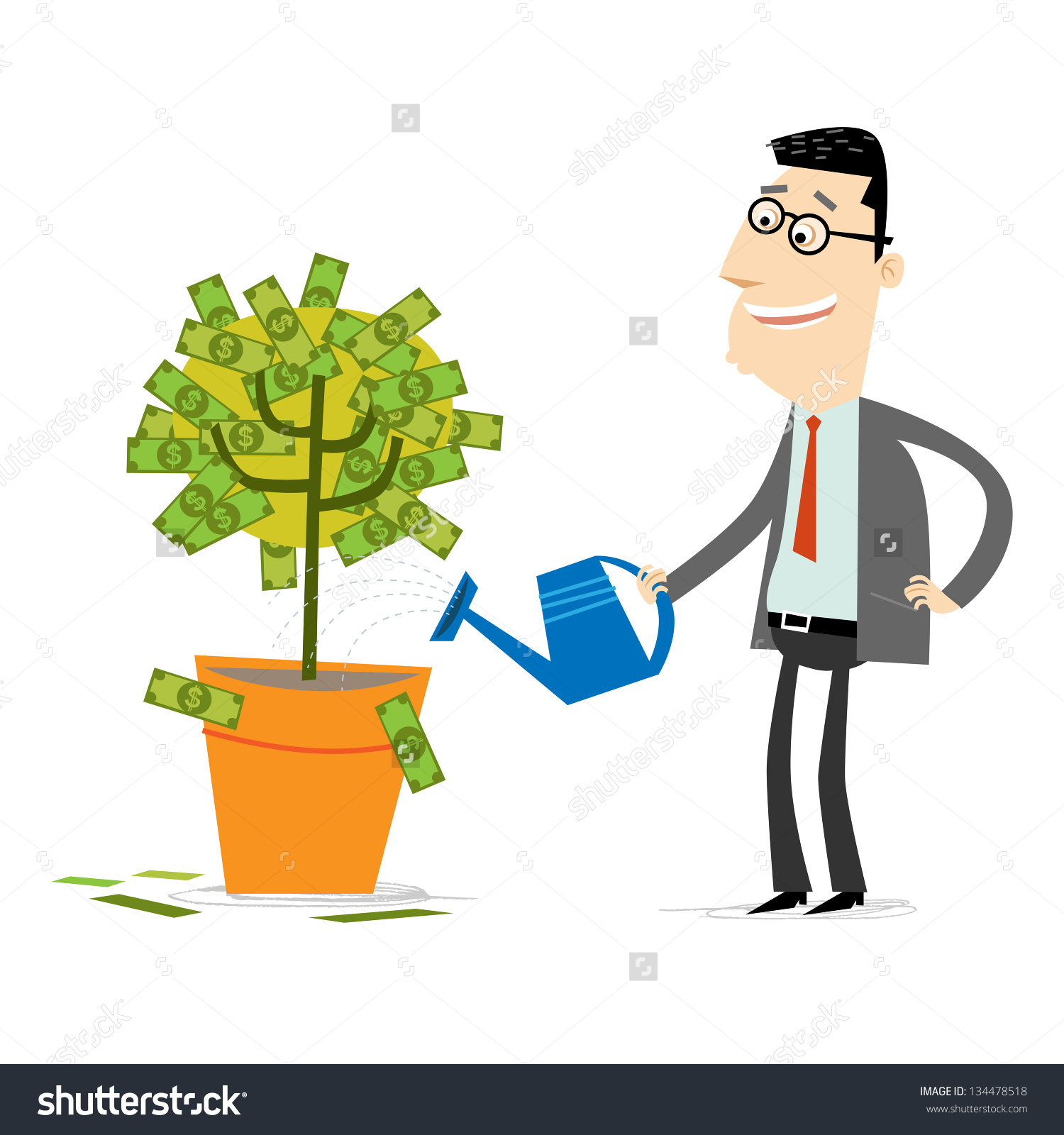Businessman Watering Money Tree Stock Vector 134478518.