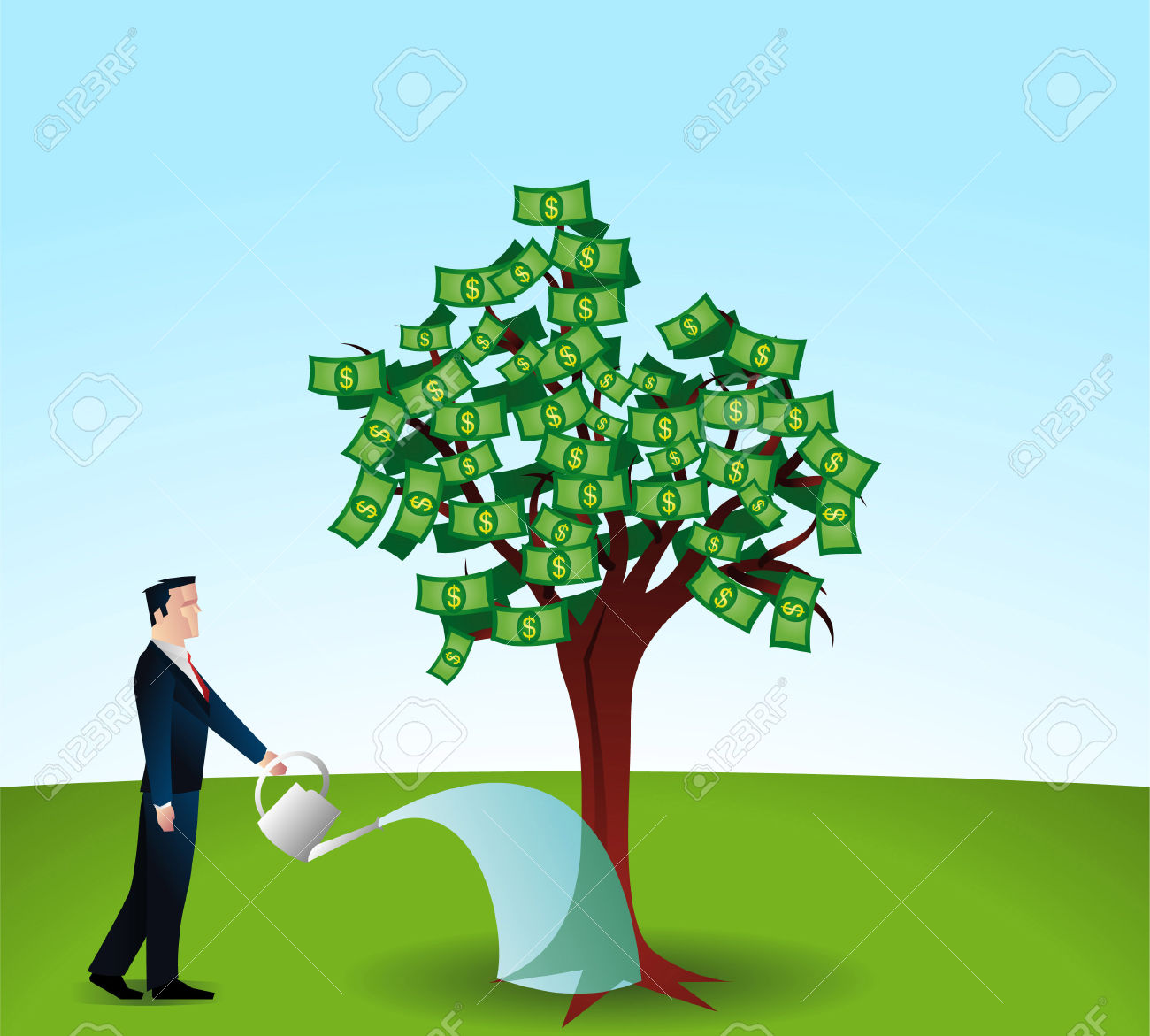 Man Watering A Money Tree. Royalty Free Cliparts, Vectors, And.