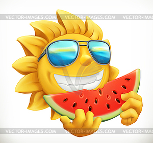 Fun summer sun with watermelon. 3d icon.