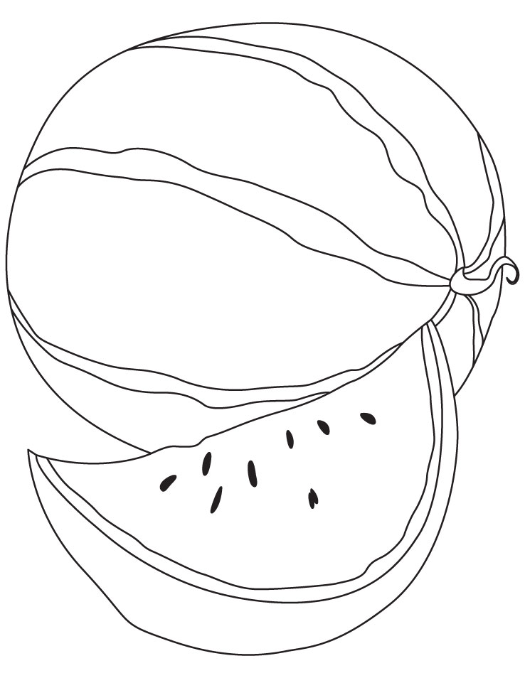 Cute Watermelon Face Clipart Black And White.