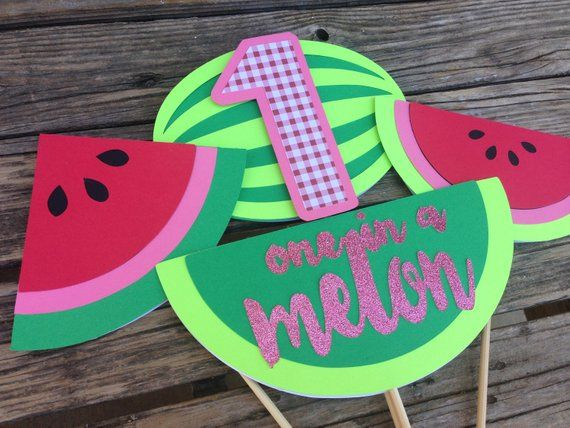 One In A Melon Birthday Center Pieces.