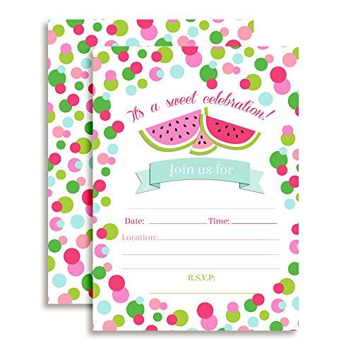 Watermelon Polka Dot Birthday Party Invitations, 20 5\