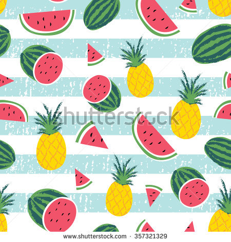 Watermelon Pineapple Stripe Seamless Repeat Wallpaper Stock Vector.