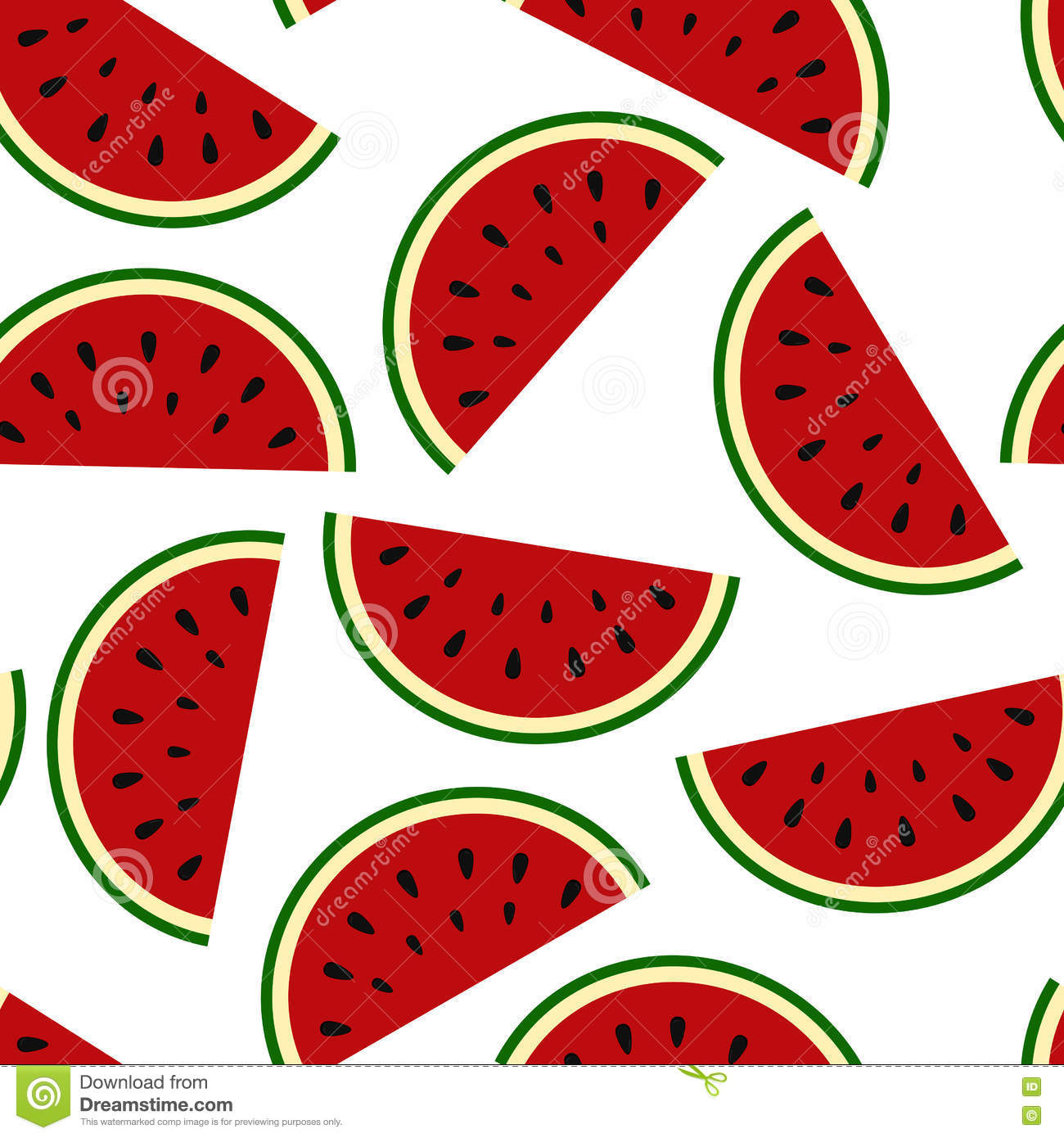 Wallpaper Juicy Summer Watermelon Slices Stock Vector.