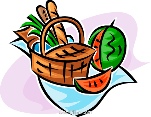picnic basket and watermelon Royalty Free Vector Clip Art.