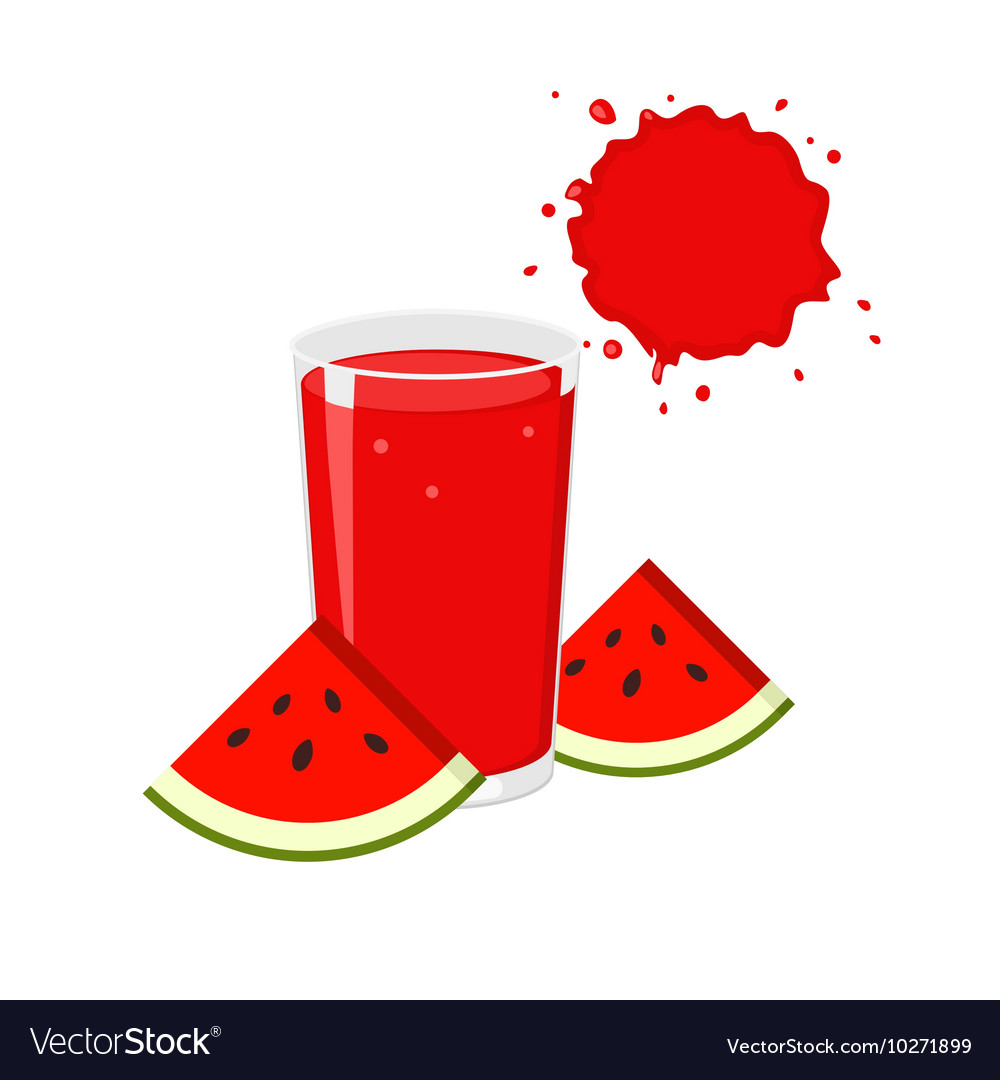 Watermelon juice and slices.
