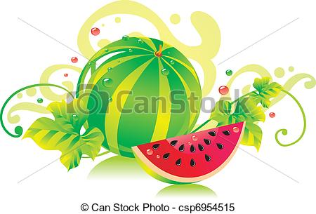 Clipart Vector of Watermelon with a water.