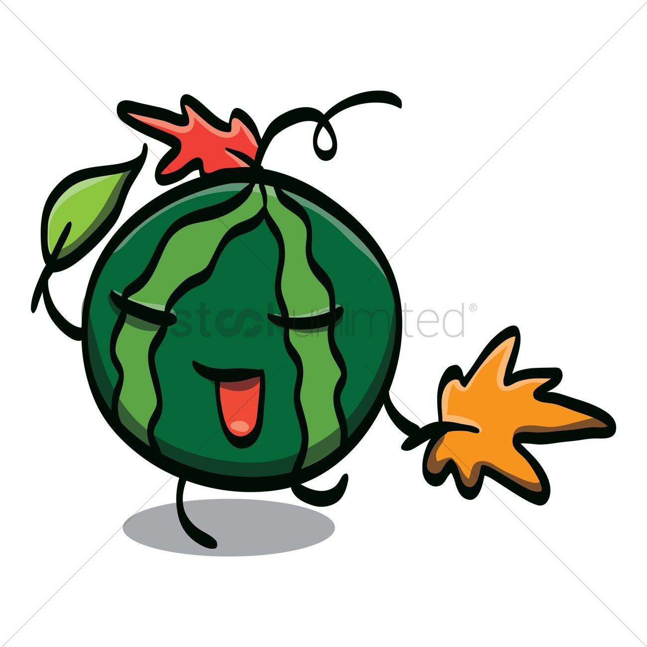 Watermelon cartoon character dancing with leaves Vector Image.