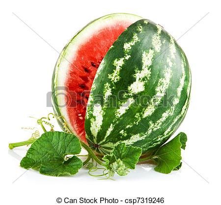 Stock Image of juicy watermelon in cut with green leaf isolated on.