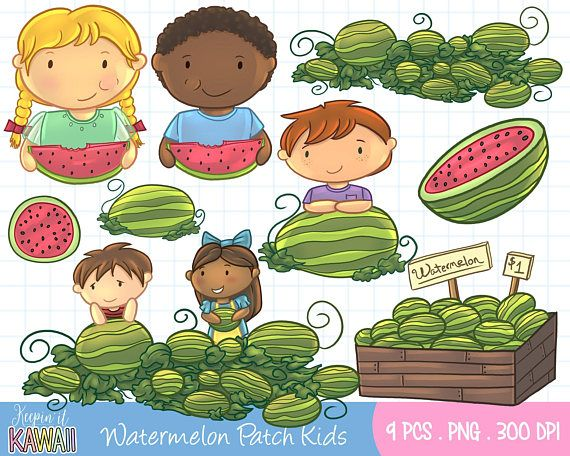 Watermelon Patch Kids Clip Art Set Cute Kids Watermelon Clip.