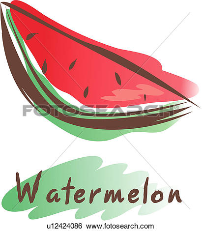 Clip Art of fruit, icon, plants, plant, watermelon u12424086.