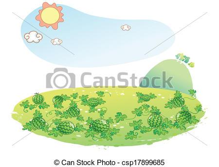 EPS Vector of watermelon garden illustration.
