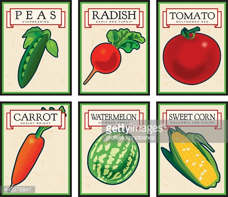 Vintage Seed Packets Vector Art.