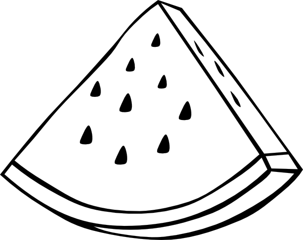 Free Watermelon Clipart Black and White Image.