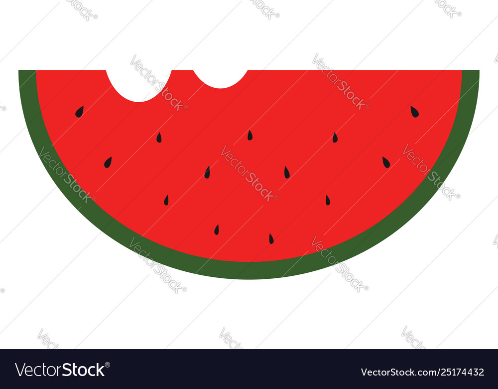 Clipart a sliced waternelon with two bites and.