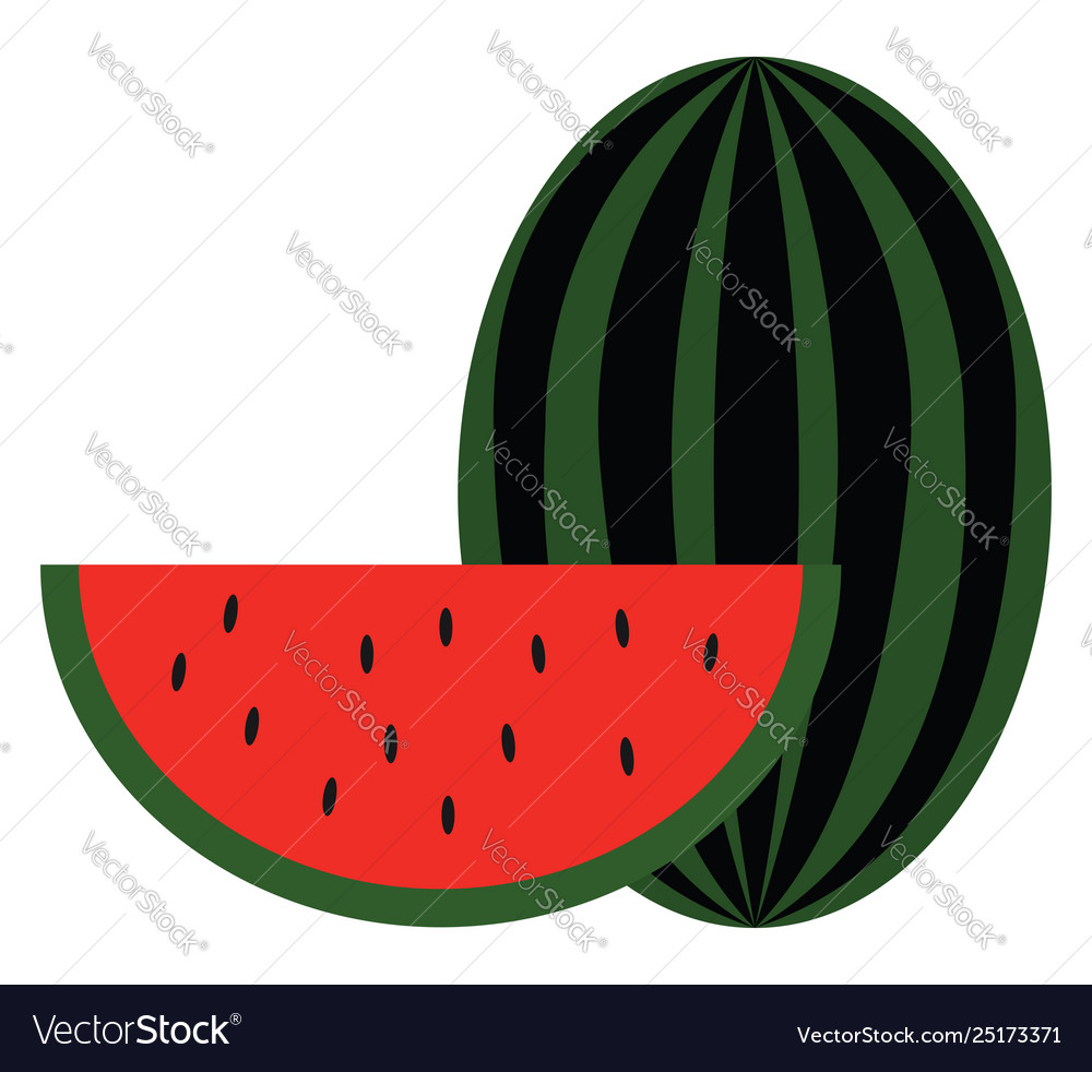 Clipart a big watermelon and a slice of.