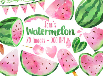 Watercolor Pink Watermelon Clipart.