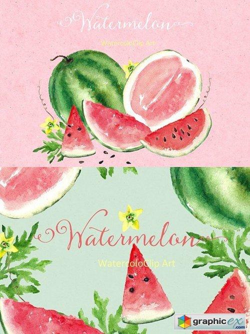 Watermelon watercolor clip art 295210 » Free Download Vector.