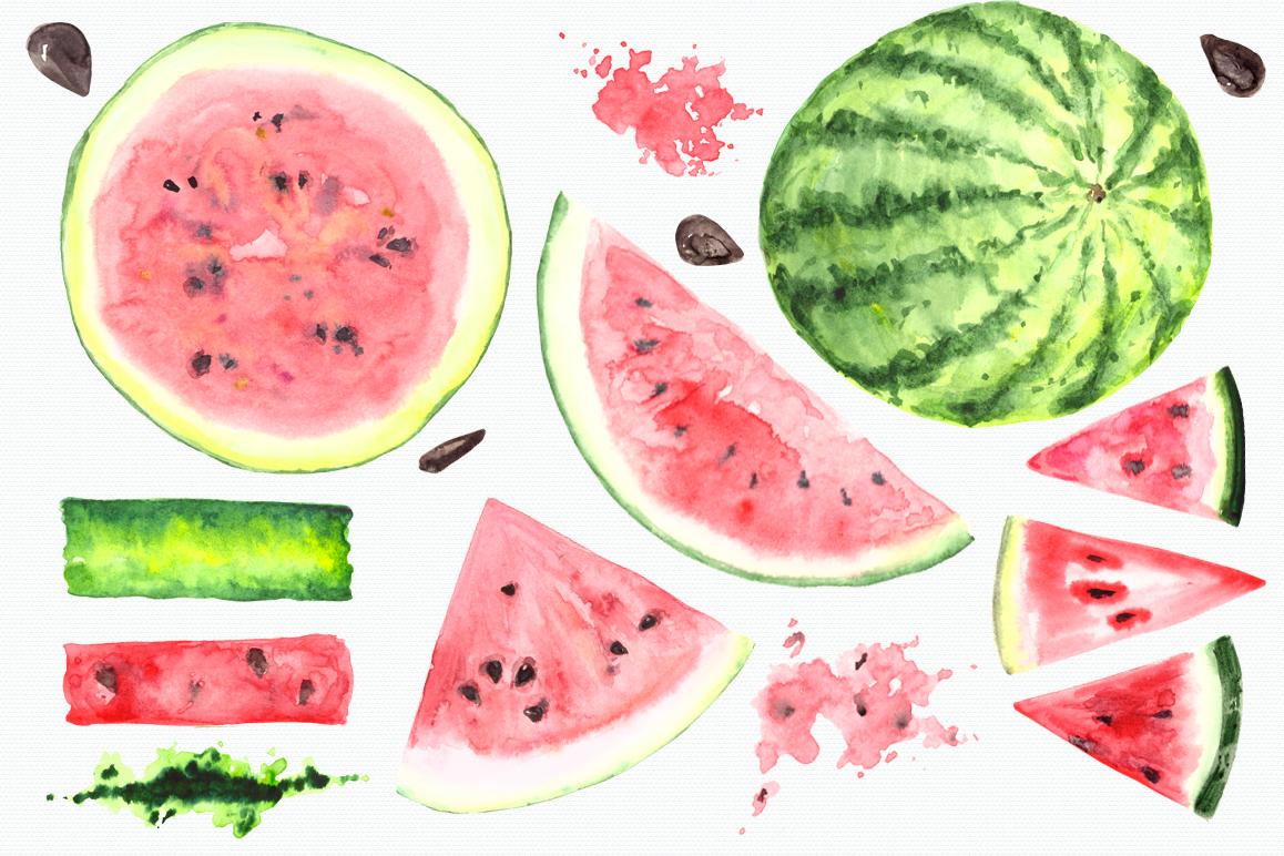 Watercolor Watermelon Clip Art Set.