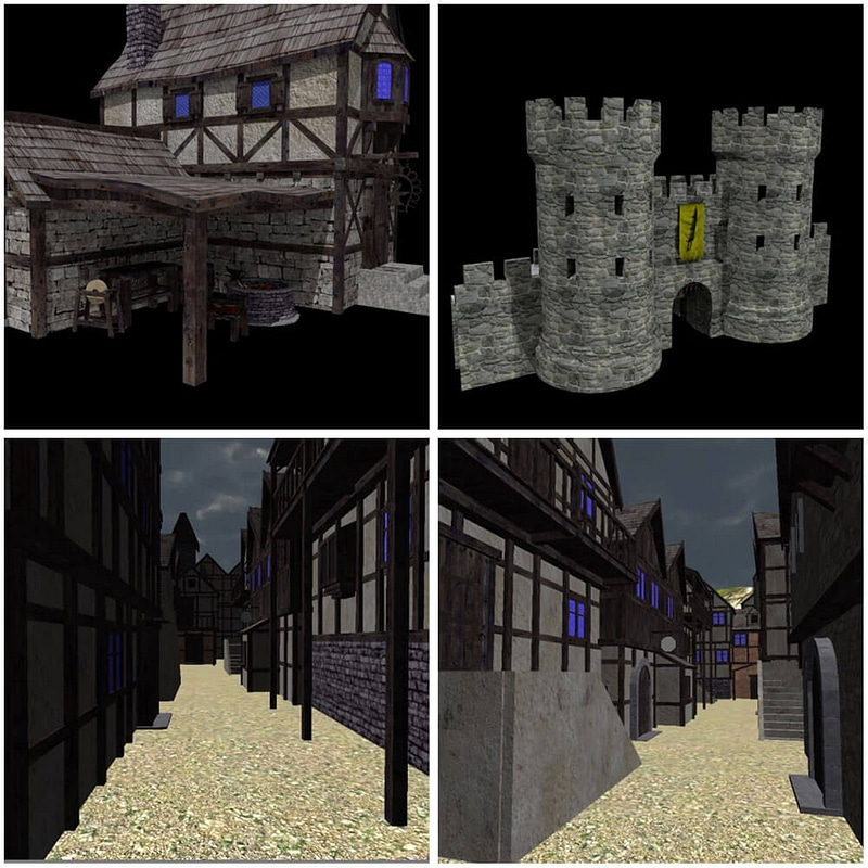 Medieval Village Pack 3d model. Free download..
