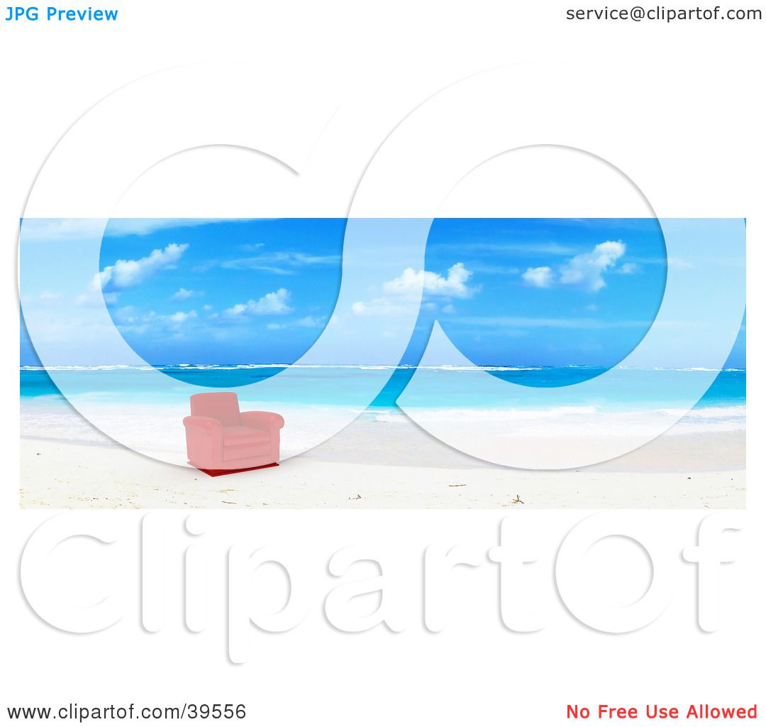 Clipart Illustration of a Red Leather Chair At The Water's Edge On.