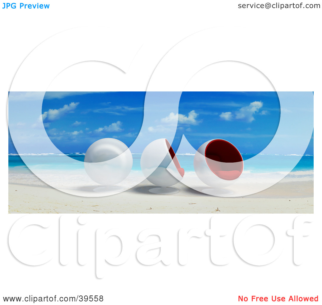 Clipart Illustration of Three Cocoon Chairs At The Water's Edge On.